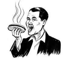 Happy Man Eating A Hot Dog