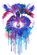 Watercolor Raccoon Face