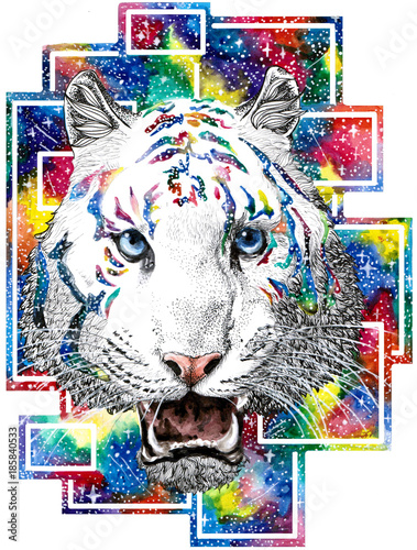 Poster Carnaval drawind of white tiger