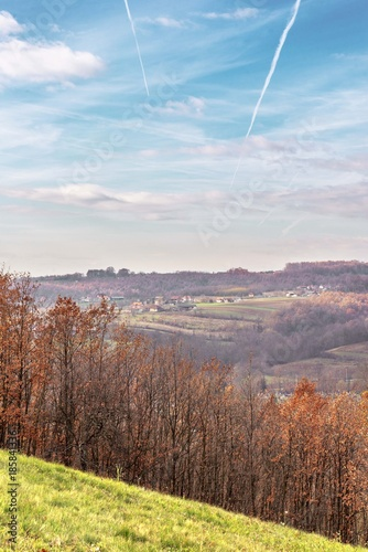 In de dag Cappuccino nature rural landscape with hills and blue sky