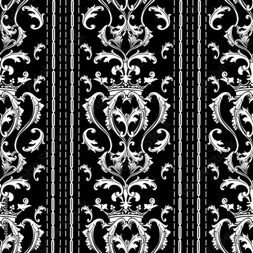 pasiasty-barokowy-wzor-czarne-biale-tlo-z-pionowymi-paskami-szwami-kropkowane-linie-korona-kwiaty-adamaszku-liscie-przewijania-antyczne-barokowe-ozdoby-na-bialym-tle-tekstury