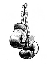 Hanging Boxing Gloves. Retro Styled Ink Illustration