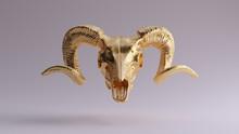 Gold Ram Skull