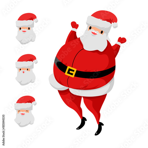 Fototapety, obrazy: Cartoon Santa Claus set. Vector character isolated. Christmas and new year illustration