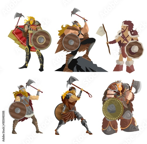 Fotografia, Obraz  viking warriors characters collection