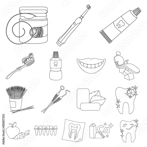 Dental Care Outline Icons In Set Collection For Design Care Of