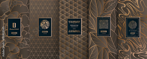 Collection of design elements,labels,icon,frames, for packaging,design of luxury products.Made with golden foil.Isolated on black background. vector illustration