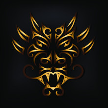 Golden Dragon Head Isolated On...