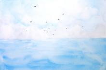 Watercolor Landscape Sea And S...