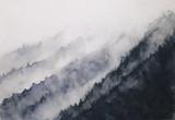 akwarela krajobraz górski mgła azjatyckie style sztuki - 185863901