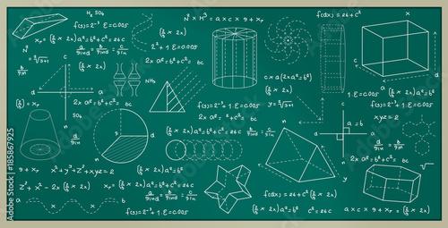 Obraz Blackboard with geometric figures and numbering formulas. - fototapety do salonu