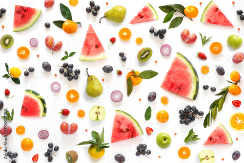 Poster Cuisine Various vegetables and fruits isolated on white background, top view, flat layout. Concept of healthy eating, food background.
