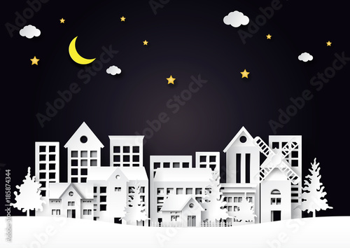 Foto op Canvas Lichtblauw Beautiful night city with half moon and stars on landscape scene paper art style background.Vector illustration.