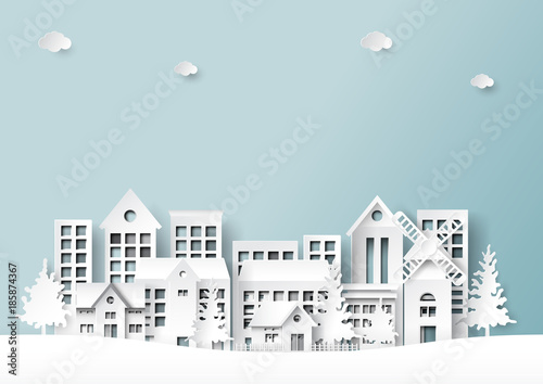 Beautiful city on landscape scene paper art style background.Vector illustration.