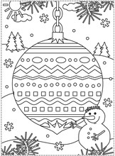Winter Holidays Coloring Page For Kids And Grown-ups With Decorated Ornament, Snowman, Fir Tree Branches, Snowbanks And Snowflakes