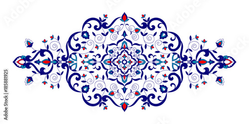 Floral pattern vector element. Turkish spa ornament with flowers motifs. Iznik symbol for royal