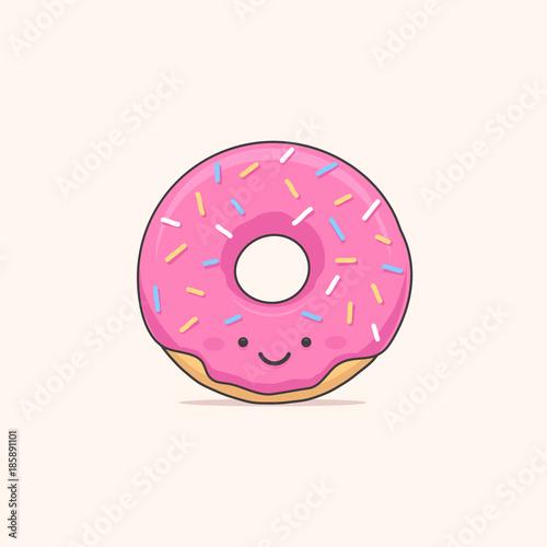 Happy donut - doughnut cartoon character vector illustration Canvas Print