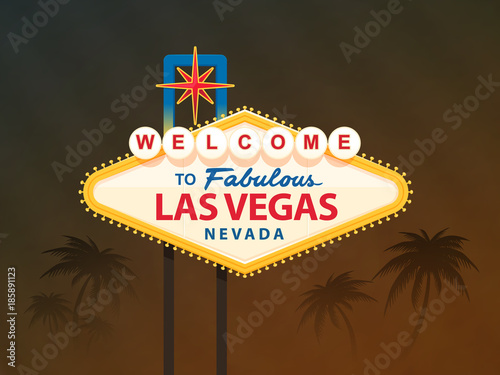 Foto op Aluminium Las Vegas Welcome to fabulous Las Vegas Nevada sign with palm trees in the background vector illustration