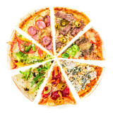 set of Different slices of pizza isolated on white. Delicious fresh Italian pizza top view - 185891751