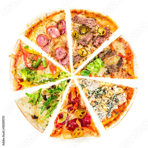 Poster Pizzeria set of Different slices of pizza isolated on white. Delicious fresh Italian pizza top view