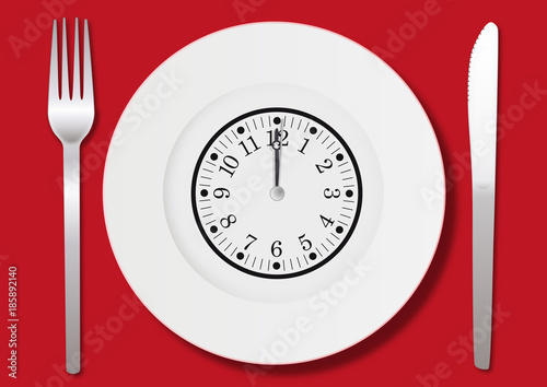 Fotografie, Obraz Manger - déjeuner - midi - heure - repas - pause - concept - menu - assiette - p