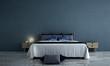 Leinwanddruck Bild - 3D rendering interior design of minimal bedroom and concrete wall texture background