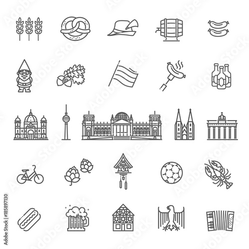 Fototapeta premium Tradycyjne symbole kultury, architektury i kuchni niemieckiej