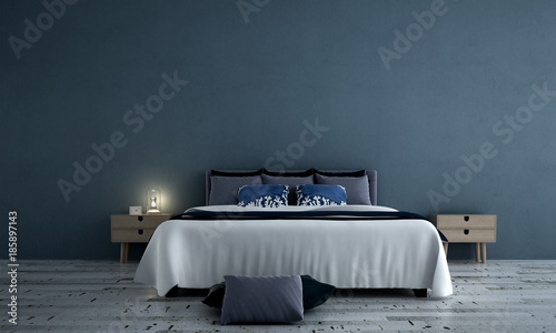Fotografía  3D rendering interior design of minimal bedroom and concrete wall texture backgr