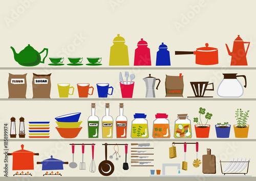 Fotografie, Obraz  キッチン用品のイメージ。クリップアート。道具。日用品。