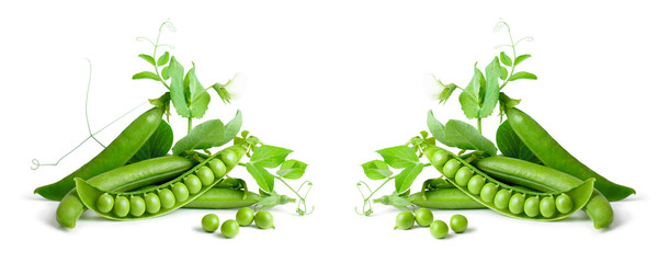 Green peas isolated on white background.
