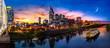 Leinwanddruck Bild - Nashville sunset with General Jackson showboat
