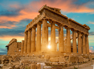 Fototapeta Architektura parthenon athens greece sun beams and sunset colors