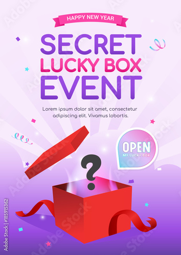Photographie  Lucky Box Event poster vector illustration, Surprise red gift box on bright purp