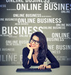 Content woman conducting online business