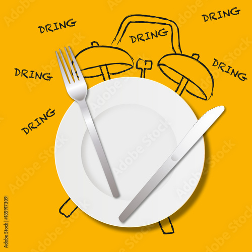 Foto Essen - Mittagessen - Mittagessen - Mittagessen - Wecker - Konzept - Stunde - Ma