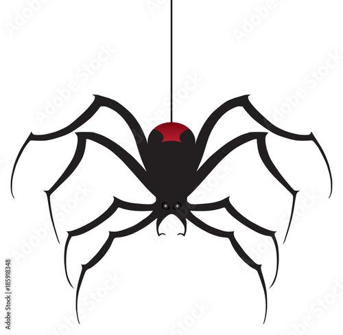 A black widow spider is descending using it's silk thread Wallpaper Mural