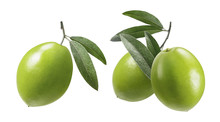 Green Olives With Leaves Set Isolated On White Background