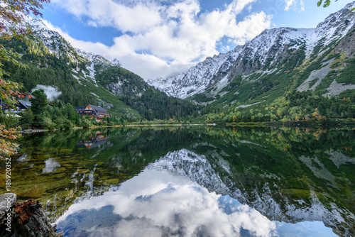slovakian carpathian mountain lake in autumn. popradske pleso