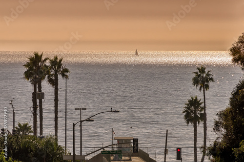 Will Rogers state beach sunset in Pacific Palisades, California,  as seen from Temescal Canyon Road Canvas Print