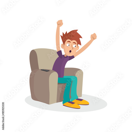 Stupendous Teenager Boy Sitting On Armchair Watching Television Tv Gmtry Best Dining Table And Chair Ideas Images Gmtryco