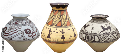 Vases with native american pattern vase isolated on white background