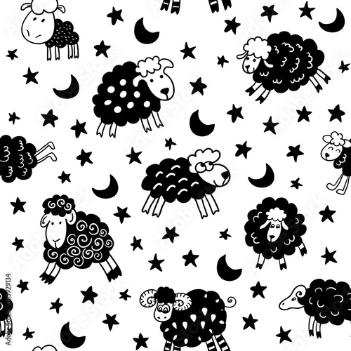 Seamless Pattern With Sheep In Night Endless Texture For Wallpaper Fill Web Page