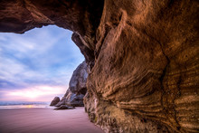 Sea Cave On Beach, Hug Point, Arch Cape, Oregon, America, USA