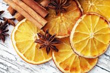 Dry Slices Of Orange, Cinnamon...