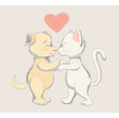 Soft and tender card - dog and cat - friends