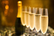 canvas print picture - Many glasses of champagne in a line. Selective focus