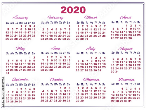 Big Calendar 2020 2020 calendar with big numbers   Buy this stock vector and explore