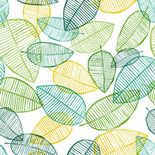 Vector Seamless Outline Leaves Pattern. Green And White Spring Background. Scandinavian Design For Fashion Textile Print