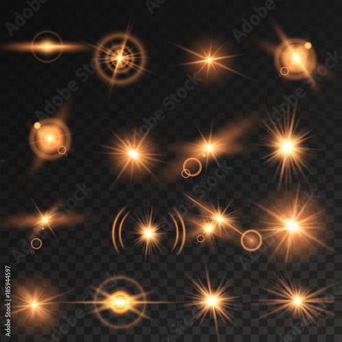 Transparent light effect, Lens flares with streaking distortion Shining Collection. Vector illustration Wall mural