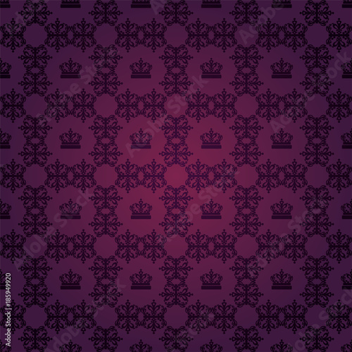 Damask Wallpaper Purple Background Flower Pattern Royal Style Dark Color